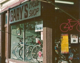Chicago Photography, vintage bicycle shop photo, Chicago Art, Edgewater, bikes, architecture, cycle, cyclery, brown, sports, art, 35mm Film