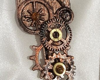 Altered Key Steampunk Cogs & Penny Farthing Bicycle pendant