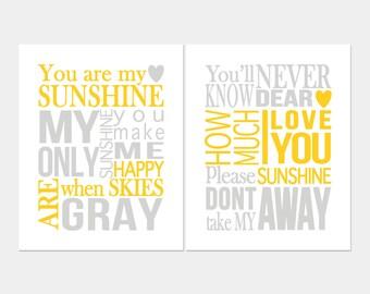 You Are My Sunshine Wall Art Art Print Set of Two, Nursery Art, Kids Wall Art, Sunshine Lyrics Sign Gender Neutral Gray Yellow Nursery Decor