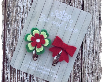 READY TO SHIP, Red Green Wool Felt Flower Mini Bow Clip Set, Baby Clips, Infant Girls Adult Mini Snap Clips