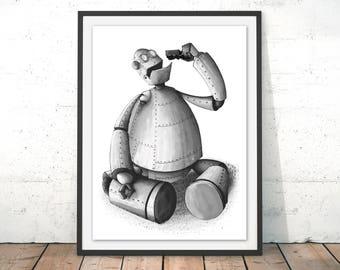 Iron Giant Print Robot Art Print Robot Illustration Toy Print Nursery Wall Art Robot Cartoon Robot Poster Robot Gift Painting