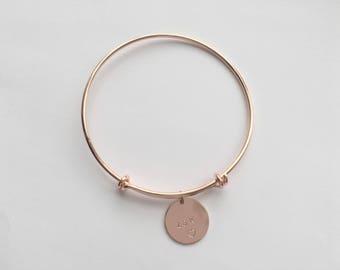Personalised rose gold bangle, personalised rose gold gift for girlfriend, personalised rose gold gift for her, personalised rose gold gift
