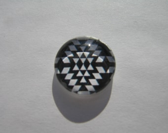 Glass cabochon round 14 mm with image geoemetrique