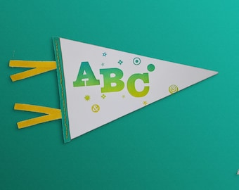Vintage-style pennant for nursery or kid's room ABC Letterpress printed paper