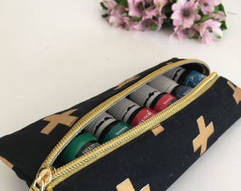 Black and Gold Cross Essential Oil Long Pouch - Essential Oil Pouch - Essential Oil Bag