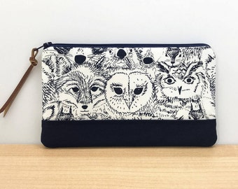 Animal Pencil Pouch - Owl Pencil Case - Gifts for Animal Lovers - Woodland Fox Bag - Patchwork Pouch - Notions Bag - Zippered Pouch
