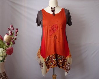 Recycled clothes Plus size Hippie clothes Bohemian clothing Upcycled tunic top Hippie boho clothing gypsy Refashioned tunic Shabby chic boho