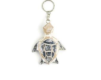 Sea turtle keychain, under the sea party favor, sea turtle art, ocean life, turtle keychain, blue and white keychain, beach keychain, gifts