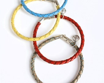 Leather and Sterling Bracelet for Men and Women (14 Colors) / Woven Leather Wristband / Trace