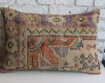 Oushak Rug Pillow,Cushion Cover,Ethnic Pillow,Tribal Pillow,Rugs Pillow,