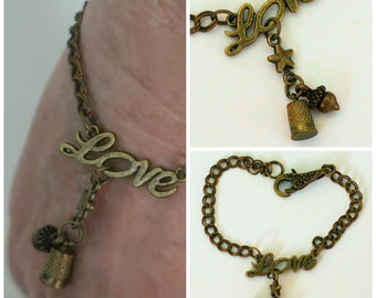 Peter Pan Thimble - Thimble and Acorn Kisses Bracelet in Warm Bronze and Brass - Second Star Right