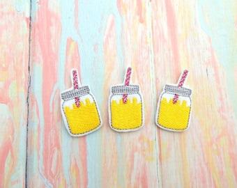 Lemon feltie - Lemon slice feltie - Lemon felt bow - Lemon jar feltie - Pink lemon felt - Pink lemonade feltie - Lemonade feltie