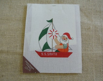 Needlepoint canvas- A sailing Santa with boat