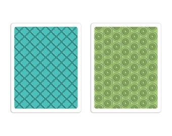 New! Sizzix Textured Impressions Embossing Folders 2PK - Playful & Flower Circle Set by Stephanie Barnard 659653