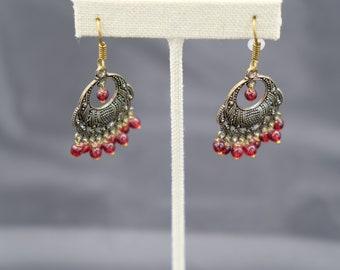 Women's Red and Brass Earrings