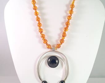 Silverfilled  Onyx Naja Pendant and Amber Beads