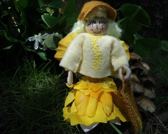 Tooth Fairie Doll, Handmade, Blonde, Purse, Matching Hat, Fairy, Petal Skirt, Flower, Yellow, Embroidered, Pixie