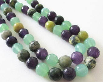 "Agate Beads - Faceted Round Ball Agate Beads - Assorted Colors Green Purple - Natural Drilled Gemstone - 10mm - 16"" - Diy Summer Jewelry"