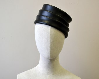 1960s Black Vinyl Stacked Toque