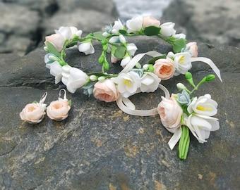 wedding jewelery set, rose decore, fresia headband, bride flowers, peach headband, peach earrings, wedding glass decor, girls gift, groom