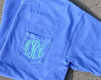 Comfort Colors Pocket Tee Short Sleeve Shirt Monogrammed Personalized T-Shirt