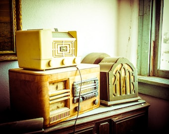 Still Life, Fine Art Photography, Antique Radios, Gift for Music Lover, Art Print, Vintage Decor, Music, Wall Art, Shabby Chic Decor, Photo