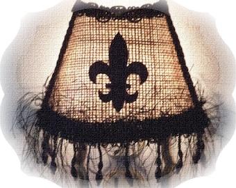 NEW Burlap Fleur De Lis French Farmhouse Country Chic Decor Night Light