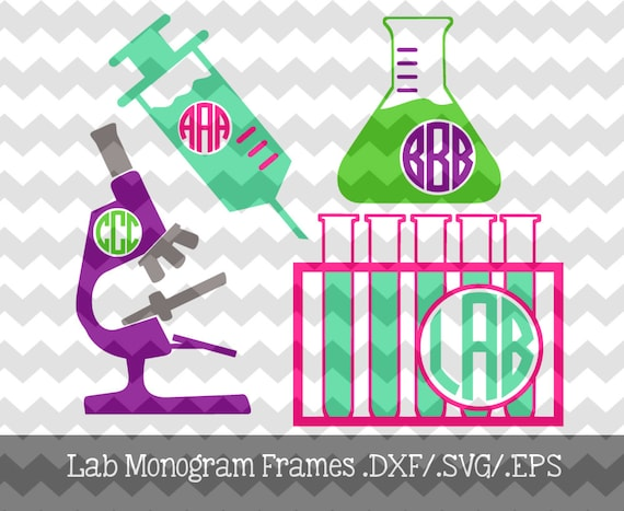 Lab Tech Monogram Frames .DXF/.EPS/.SVG Files for use with