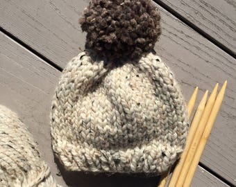 Hand Knitted Baby Beanie > Neutral Baby Beanie > Baby Beanie With Pom Pom > Chunky Knit Baby Hat > Knit Baby Hat >Knit Kids Beanie Hat Arden