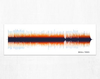 Small Town - Lyrics Sound Wave Wall Art Print, Framed Print, Canvas, Personalized Gift for Music Lovers, Musicians