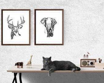 Elephant zentangle and Stag zentangle, Print Set, two prints