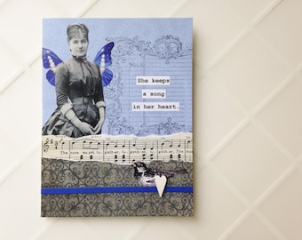 Handmade Card - A Song in Her Heart - collage - vintage music, bird, butterfly -- friendship, birthday, thank you, caring