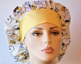 Snoopy Stripe Scrub Hats/Medical Scrub Hats/ Snoopy Scrub Caps/Boufffant Scrub Hats/Vet Scrub Hats/SilverCaps/Womens Scrub Hat/Dog Scrub Hat