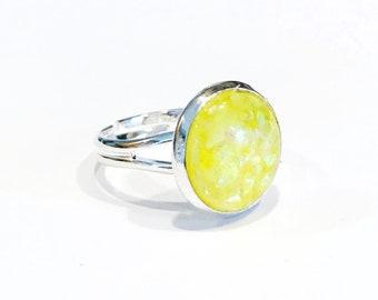 yellow opal ring, yellow ring for women, lemon yellow, adjustable rings for women, silver adjustable ring, size 6 ring, fashion rings