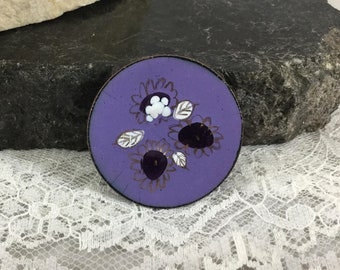 Vintage Hand Painted Copper Enamel Round Brooch Pin Purple Lilac Raised Floral Design