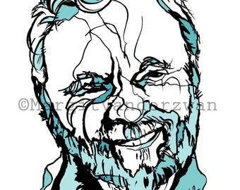 Stephen Sondheim, Ink Portrait of American Composer, Music Gift, Sweeny Todd, Sunday in the Park with George, Giclee Print
