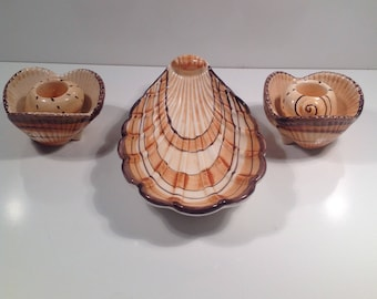 Vintage Fitz and Floyd Shell Dish and Candle Holders