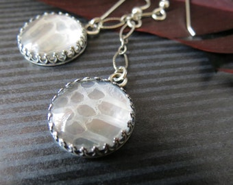 Remnants Collection Sterling Silver Snake Skin Earrings