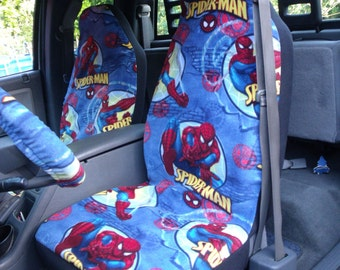 1 Set Of Spider Man Print And Steering Wheel Cover Custom Made