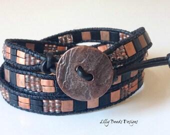 Leather Wrap Bracelet,Black Leather Bracelet,Copper Wrap Bracelet,Black Leather Cuff,Copper Cuff Bracelet,Boho Bracelet,CUSTOM ORDERS TAKEN