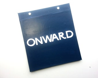 Race Bib Holder - Onward quote - customizable color - Runner inspiration - Hand-bound Book for Running bibs Navy and White