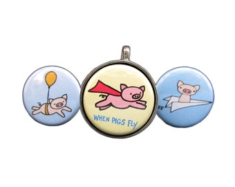 When Pigs Fly - Pig Necklace - Pig Pendant - Magnetic Necklace Set