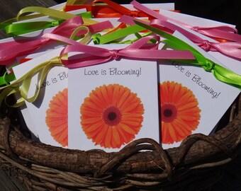 Orange Gerber Daisy Design with Wildflower Seeds Inside for Bridal Shower or Wedding SALE CIJ Christmas in July