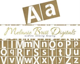 STENCIL alphabet, uppercase stencils, lowercase stencils, digital alphabet set, printable stencils, printable pdf, INSTANT DOWNLOAD