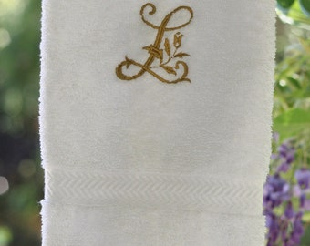 Embroidered Cotton Terry Hand Towel