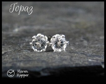 White topaz gemstone earrings, 3mm, in a sterling silver setting, sleepers earrings.  April birthstone earrings. 146
