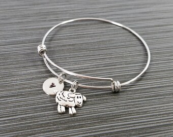 Sheep Bangle - Sheep Charm Bracelet - Expandable Bangle - Charm Bangle - Sheep Bracelet- Initial Bracelet - Knitting Bracelet