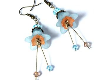 Aqua and Peach Flower Earrings, Lucite Flowers, Floral Earrings. Swarovski Crystal