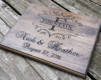 Custom wood sign, wooden sign, personalized wood sign, rustic wedding sign, monogram, memorial sign plaque, wedding gift, guestbook