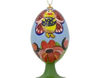 "3.5"" Butterfly in Spring Flowers Garden Wooden Easter Egg Christmas Ornament"